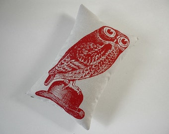 Owl on Bowler Hat silk screened cotton canvas throw pillow 12x18 inch red on ivory