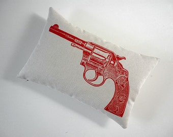 Vintage Colt Revolver hand silk screened cotton canvas throw pillow 12x18 red on sandstone