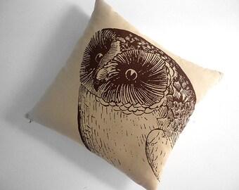 Giant Owl silk screened cotton canvas throw pillow 18 inch brown desert