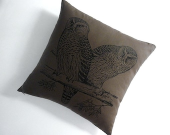 Owls silk screened cotton canvas throw pillow 18 inch moss black