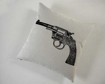 Vintage Colt Revolver Gun silk screened cotton canvas throw pillow 18 inch BLACK