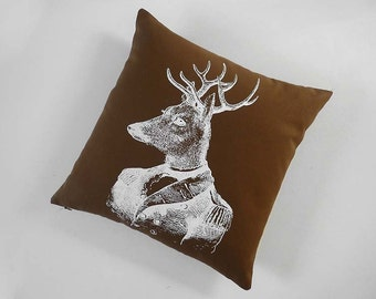General Deer silk screened cotton canvas throw pillow 18 inch brown white