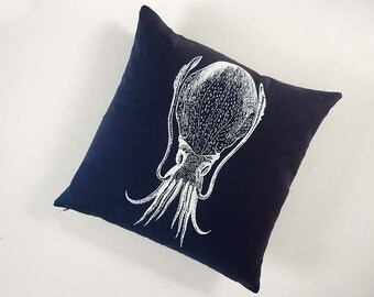 Cuttlefish squid silk screened cotton canvas throw pillow 18 inch navy blue white