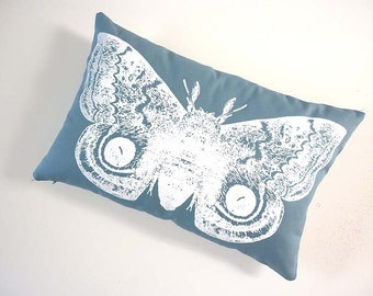 Giant IO Moth silk screened cotton canvas throw pillow toile 18x12 teal blue white