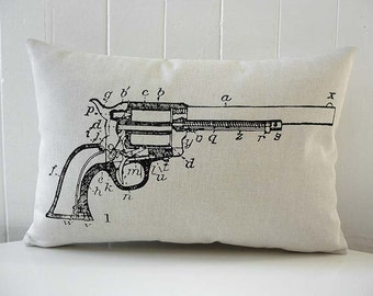 Revolver Gun Diagram silk screened cotton canvas throw pillow 12x18 black