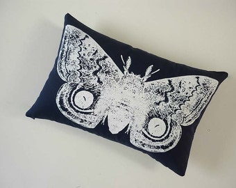 Vintage IO moth silk screened cotton canvas throw pillow 12x18 inch white on navy