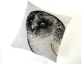 Owl silk screened cotton canvas throw pillow 18 inch black sandstone