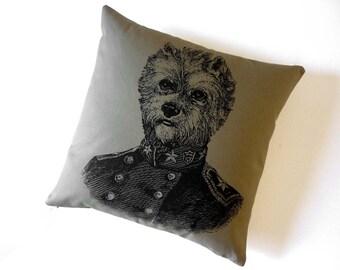 General Yorkie Terrier silk screend cotton canvas throw pillow 18 inch KHAKI