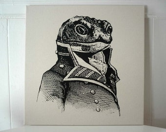 General Toad silk screened cotton canvas wall hanging 18x18 inch