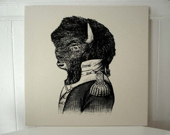 Buffalo silk screened cotton canvas wall hanging 18x18 inch