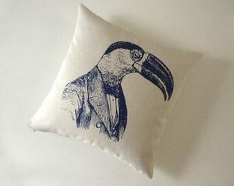 Professor Toucan silk screened cotton canvas throw pillow 18 inch navy