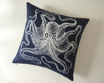 Vintage Octopus silk screened cotton canvas throw pillow 18 inch navy blue white