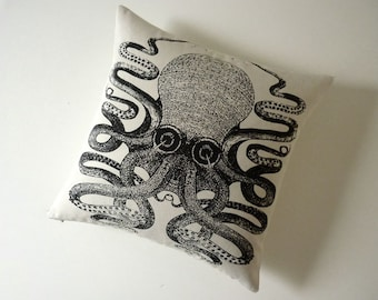 Giant Octopus silk screened cotton canvas throw pillow 18 inch black