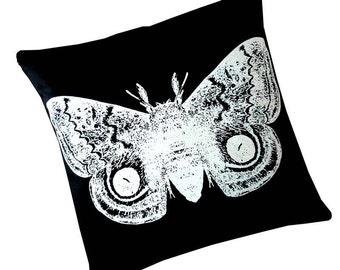 Giant IO Moth silk screened cotton canvas throw pillow 18 inch white on black