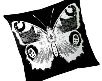 Vintage Butterfly silk screened cotton canvas throw pillow 18 inch white on black