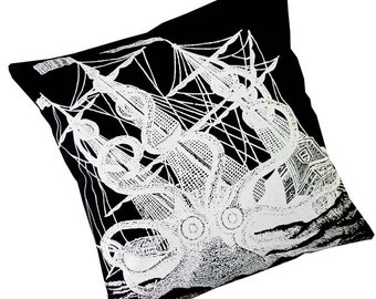Giant Octopus silk screened cotton canvas throw pillow 18 inch white on black