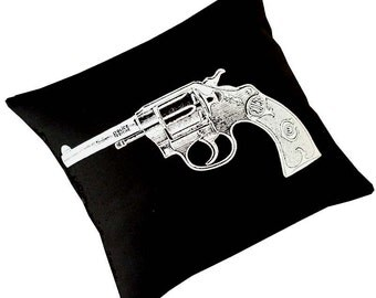 VIntage Gun Revolver silk screened cotton canvas throw pillow 18 inch white on black