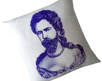 Bearded Lady or Man in Drag silkscreened cotton canvas throw pillow 18 inch square Purple