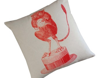 Tarsier silk screened cotton canvas throw pillow 18 inch red on ivory