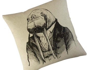 Dr. Walrus silkscreened cotton canvas throw pillow 18 inch square
