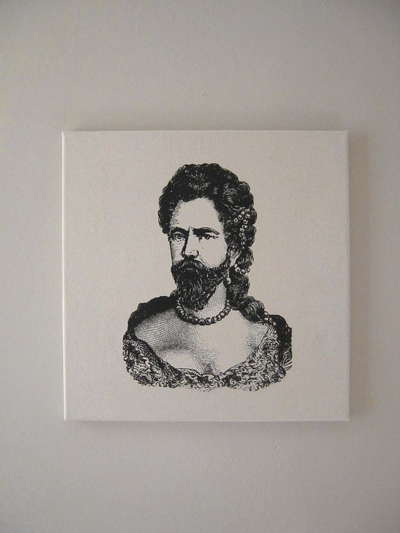 Bearded Lady or Man in Drag silkscreened natural canvas wall hanging 18 inch black
