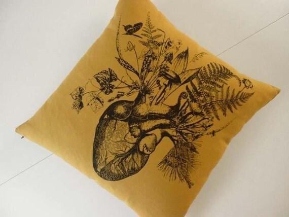 Growing Human Heart silk screened cotton canvas throw pillow 18x18 Carmel Black