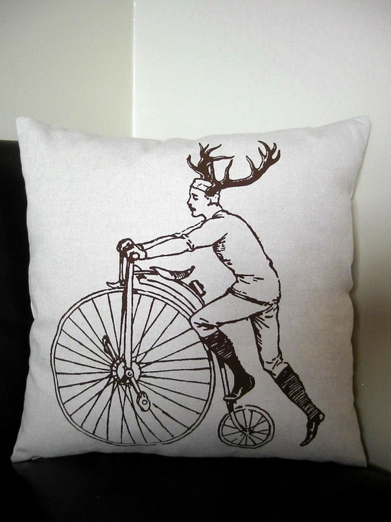 Buck on Bike silk screened cotton canvas throw pillow 18 inch square