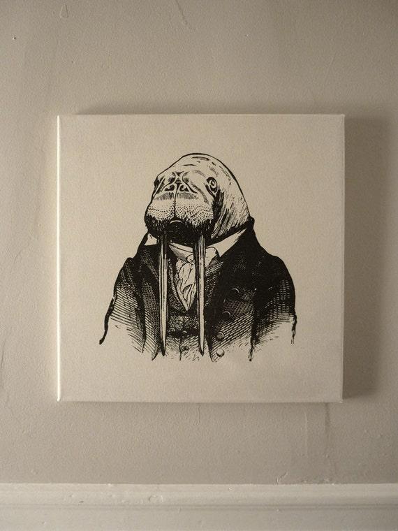 Professor Walrus silk screened cotton canvas wall hanging black natural