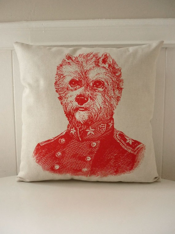 General Yorkie silk screened cotton canvas throw pillow 18 inch red