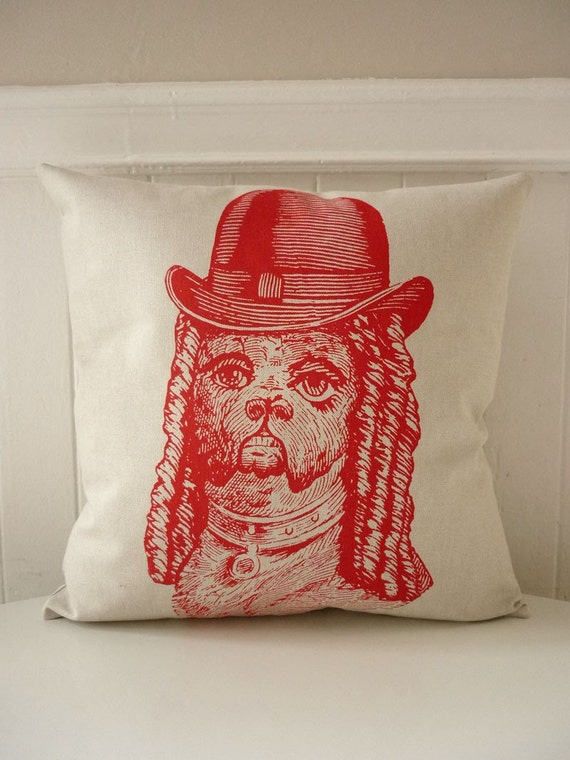 Dandy Boxer silk screened cotton canvas throw pillow 18 inch red