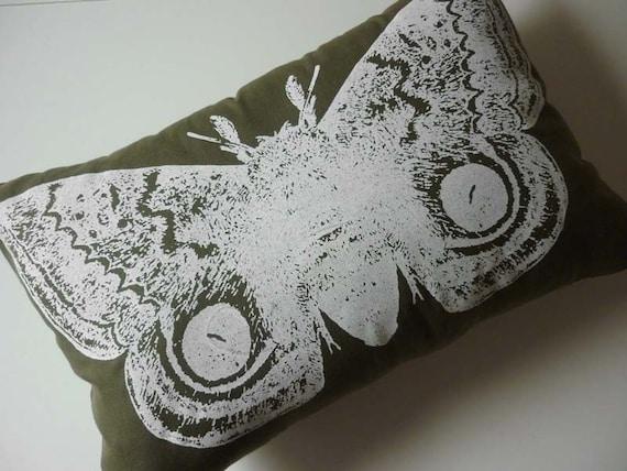 Giant IO Moth silk screened cotton twill throw pillow 18x12 White on Moss