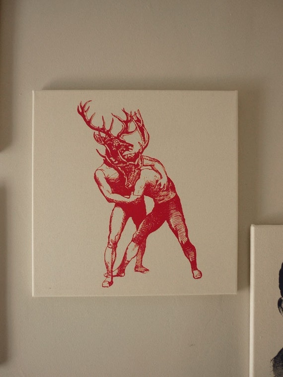 Bucks brawling silk screened cotton canvas wall hanging red natural