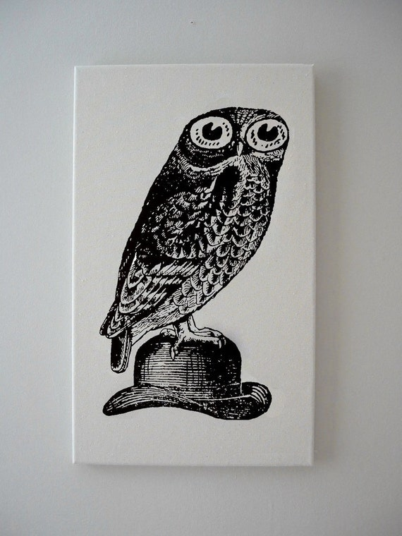Owl on Bowler Hat silk screened canvas wall hanging 18x12 BLACK