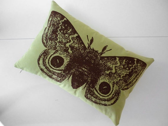Giant IO Moth silk screened cotton canvas throw pillow toile 18x12 apple green brown