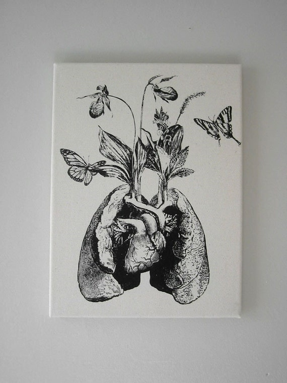 Human lung heart growing wild flowers and orchids butterflies silk screened wall hanging 16x12 black