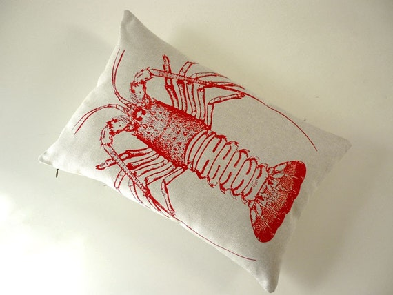 Vintage Spiny Lobster silkscreened cotton canvas throw pillow 18x12
