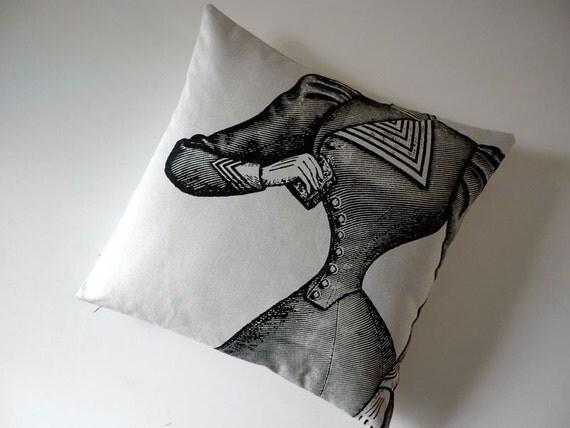 Victorian corset silk screened cotton canvas throw pillow black