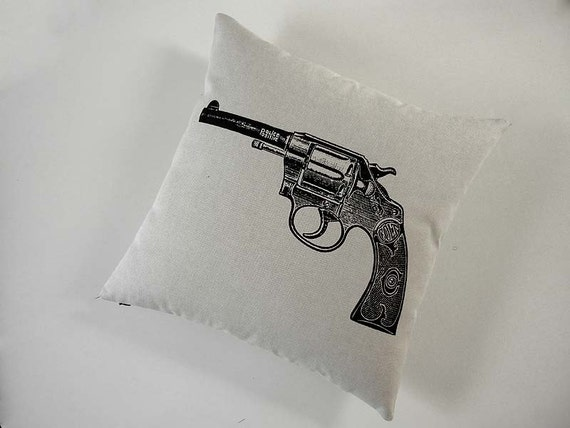 Vintage Colt Revolver Gun silk screened cotton canvas throw pillow 18 inch BLACK