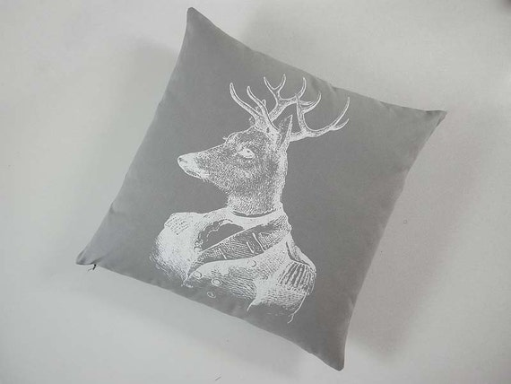 General Deer silk screened cotton canvas throw pillow 18x18 gray white