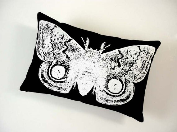 Giant IO Moth silk screened cotton twill throw pillow 18x12 White on Black