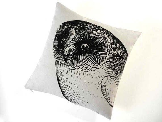 Owl silk screened cotton canvas throw pillow 18 inch black sandstone