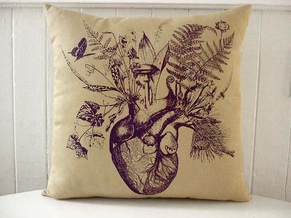 Growing Heart silk screened cotton canvas throw pillow 18 inch purple on desert