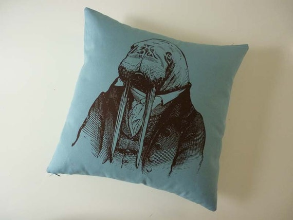 Dr. Walrus silk screened cotton canvas throw pillow 18 inch teal blue brown
