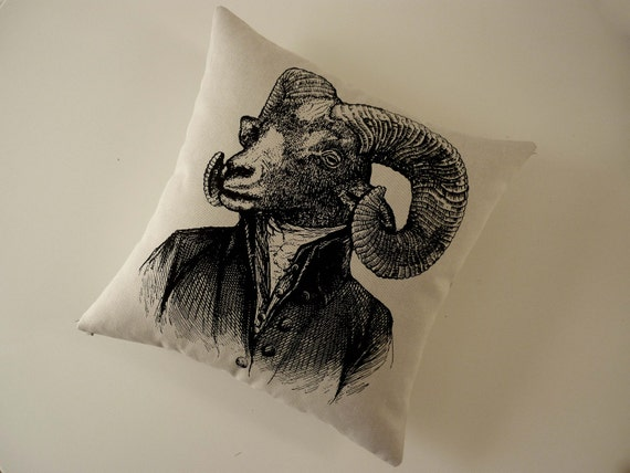 Handsome Ram silk screened cotton canvas throw pillow 18 inch black