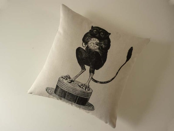Tarsier Monkey on Hat silk screened cotton canvas throw pillow 18 inch black