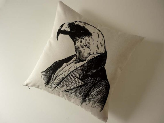 Regal Bald Eagle silk screened cotton canvas throw pillow 18 inch black
