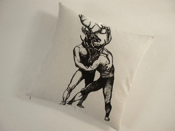 Young Bucks Brawling original silkscreened cotton canvas pillow 18x18 inches
