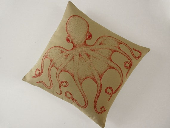 Octopus silk screened cotton canvas throw pillow 18 inch red on desert