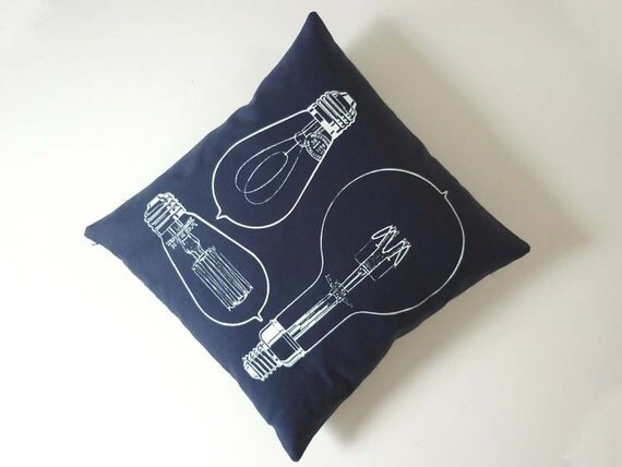 Vintage Light Bulbs silk screened cotton canvas throw pillow 18 inch white on navy