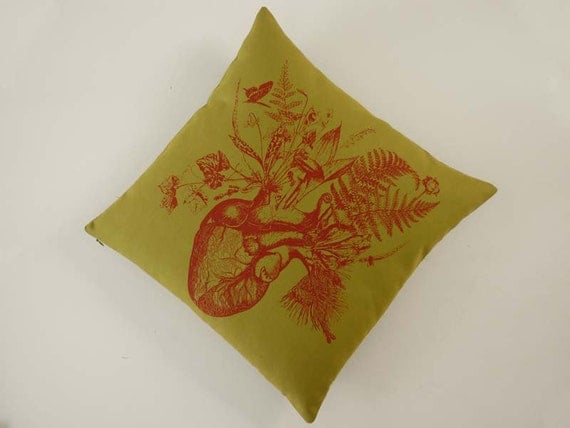 Growing Human Heart silk screened cotton canvas throw pillow 18 inch avocado green red